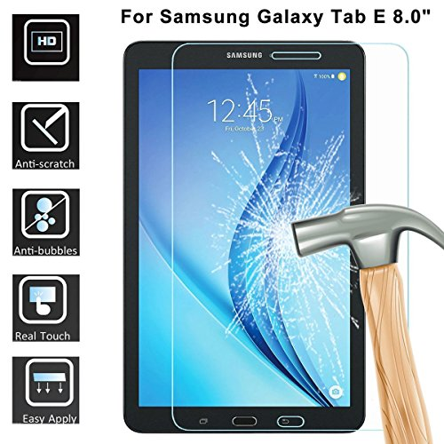 Samsung Galaxy Tab E 8.0 Screen Protector, LTROP Tempered Glass Screen Protector for Samsung Galaxy Tab E 8.0 inch Tablet (SM-T377) 9H Hardness, Clear, Anti Fingerprint, Scratch Resistant, Bubble Free