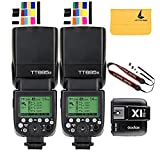 Godox TT685S TTL 2X Camera Flash High Speed 1/8000s GN60 for Sony DSLR Cameras+Godox X1T-S I-TTL 2.4G Wireless Flash Trigger Transmitter for Sony DSLR Cameras with MI Shoe (TT685S+X1T-S)
