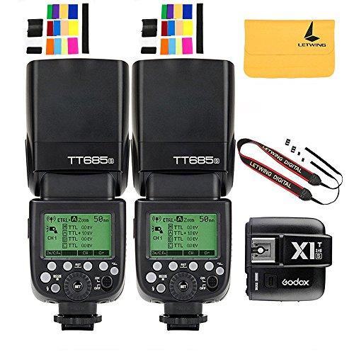 Godox TT685S TTL 2X Camera Flash High Speed 1/8000s GN60 for Sony DSLR Cameras+Godox X1T-S I-TTL 2.4G Wireless Flash Trigger Transmitter for Sony DSLR Cameras with MI Shoe (TT685S+X1T-S) by Godox