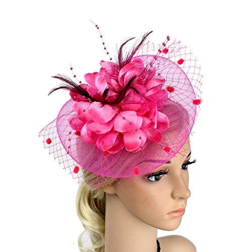YSJOY Womens Feather Flower Sinamay Fascinator Wedding Hair Aceessory Church British Bowler Hat Summer Derby Hat Cocktail Tea Party Hat Rose Red Women Bowlers