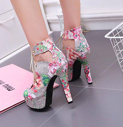 Easemax Mujeres Floral Print High Top High Stiletto Heel Peep Toe Tobillo Wrap Lace Up Sandalias De Plataforma Rosa