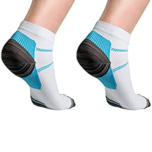 Plantar Fasciitis Socks Premium Ankle Support Compression Sleeve with Heel Hugger to Increase Circulation - Infused with Gel for Ultimate Plantar Fasciitis Relief for Men and Women (1 Pair)(Large)