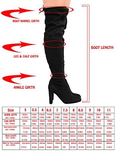 Wild Diva Women's Over The Knee Boot - Sexy Over The Knee High Pullon Boot - Trendy Low Block Heel Shoe - Comfortable Boot high (11, Black) (Boot Heel Sexy Knee High)