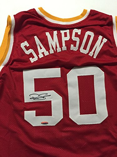 Autographed/Signed Ralph Sampson Houston Basketball Jersey Tristar COA
