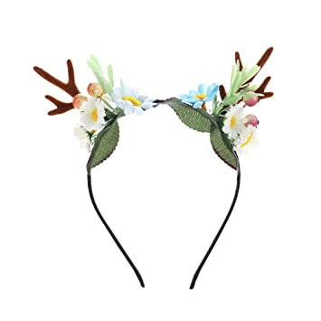 Amazon.com   Novelty Christmas Artificial Deer Antler Headband With Flowers  Blossom Berry Hair Band Headpiece Headware for Girl Women Carnival Party  (FD114) ... cdd8643c92c