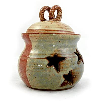 Old Glory Handmade Stoneware Pottery Garlic Keeper Jar with American Flag Motif by Mudworks
