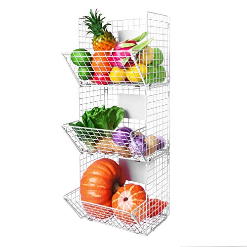 X-cosrack Metal Wire Basket Wall Mount, 3 Tier Wall Storage Basket Organizer with Hanging Hooks Chalkboards, Rustic Kitchen Fruit Produce Bin Rack Bathroom Tower Baskets (White) (Hanging Wall Baskets For Bathroom)