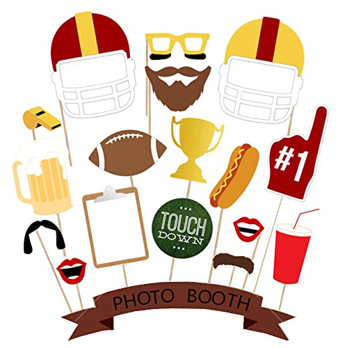 Football Party Photo Booth Props - Birthday Decoration for Game Day Team Sports Super Bowl Tailgate Father's Day Baby Shower Reunions Homecoming, Disguise Selfie Dress-up Shoot Props Party Favor 17Pcs -