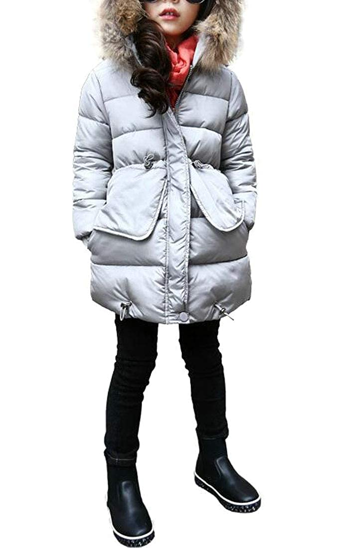 Macondoo Girls Hoodie Cute Thick Faux Fur Collar Overcoat Parkas Coat
