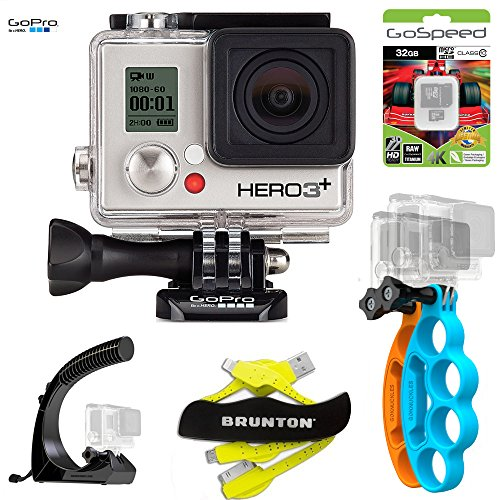 GoPro HERO3+ SILVER 10MP Full HD 1080p 60fps Built-In Wi-Fi Waterproof Wearable Camera Adventure Edition (32GB X Pro Bundle)