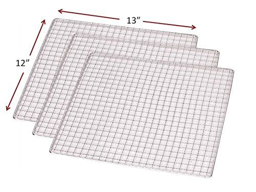 3-PACK Stainless Steel 12 x 13 Dehydrator Drying Trays Fits Samson SB106 and SB109 Dehydrators Also fits Magic Mill, Aroma, Ivation, Chefman & Others