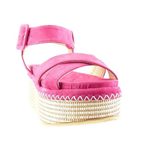 Angkorly - damen Schuhe Sandalen Mule - Plateauschuhe - Geflochten - String Tanga - Schleife Keilabsatz high heel 7 CM - Fushia