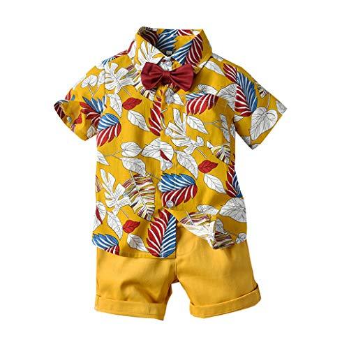 SIN vimklo 2PCs Newborn Baby Boy Short Sleeve Bow Tie Gentleman Leaf T-Shirt Tops+Shorts Outfits Yellow ()