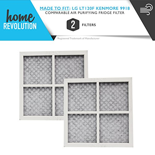 LG Part # ADQ73334008, ADQ73214404, 04609918000P & 9918 for LG LT120F and Kenmore 9918, Comparable Air Purifying Refrigerator Filter. A Home Revolution Brand Quality Aftermarket Replacement. 2PK