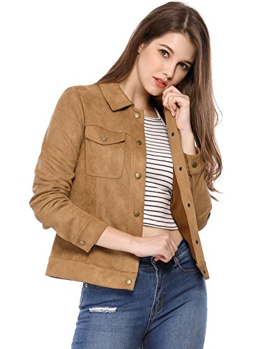 (Allegra K Women's Turn Down Collar Flap Pockets Vintage Faux Suede Trucker Jacket L Brown)