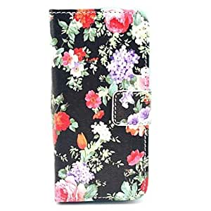 LIMME Flowers Bloom in Figure on Black PU Leather Full Body Case for iPhone 5/5S