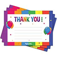 30 Kids Thank You Cards with Envelopes (30 Pack) - Kids Birthday Thank You Notes - Rainbow