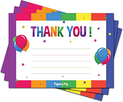 Thank You Cards With Envelopes (15 Count) - Kids Birthday Party, Baby Shower - Greeting Note Cards - Colorful Rainbow Theme