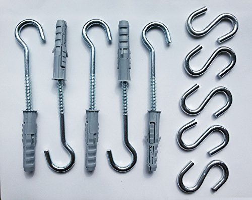 5 pcs Large Hooks Open 3-1/2 Inch 100 mm Stainless Steel with 5 pcs S Shape Hooks Lag Eyebolts Thread Concrete Screws Eyes Anchors Durable Multifunctional