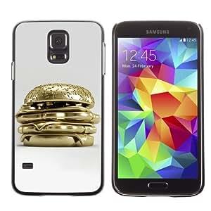 Licase Hard Protective Case Skin Cover for Samsung Galaxy S5 - Golden Hamburger