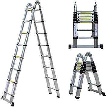 Escalera de aluminio Escalera Telescópica De Aluminio De 5 M. Escalera Plegable Portátil Multifunción. Desván Interior. Aplicación De Carga.: Amazon.es: Bricolaje y herramientas