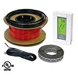HeatTech 50 sqft Warming Cable Set, Electric Radiant In-Floor Heating Cable Warming System, 120V, 200ft long, with Digital 7-day Programmable Floor Sensing Thermostat by HeatTech
