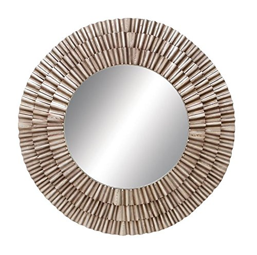 Deco 79 Contemporary Metal and Wood Round Framed Fluted Design Wall Mirror, 41