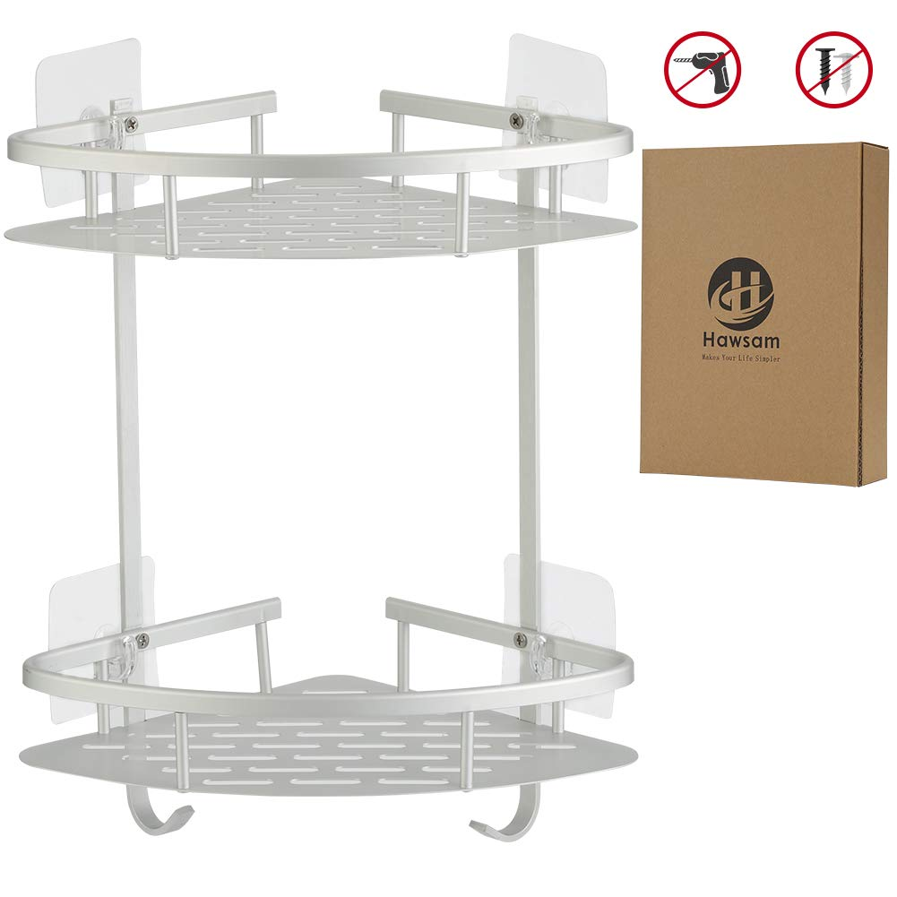 Hawsam No Drilling Bathroom Corner Shelves, Aluminum 2 Tier Shower Shelf Caddy Adhesive Storage Basket for Shampoo