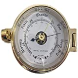 Ships Porthole Brass Nautical Barometer 117mm by Meridian Zero