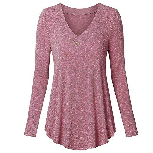 Mode Ray Femmes Longues V Blouses Rose Printemps Casual Tops Bouton Plisse Manches T Cou zahuihuiM Shirt Profond Retour Nouveau Automne 0dtAfBxqwx