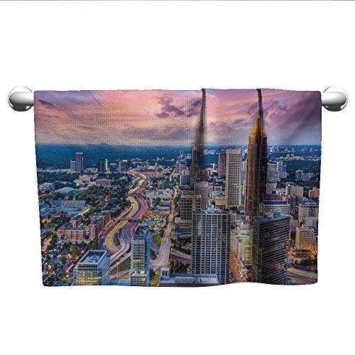 LilyDecorH Modern,Best Bath Towels Atlanta City Skyline at Sunset with Hazy Syk Georgia Town American View Travel Towel Quick Dry Baby Pink Blue Silver W 35