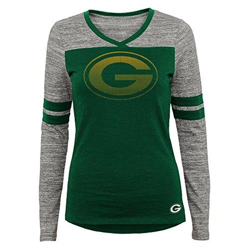 NFL Junior Girls Secret Fan Long Sleeve Football Tee, Green Bay Packers, Hunter, M(7-9) (Packers Shirt Girls)