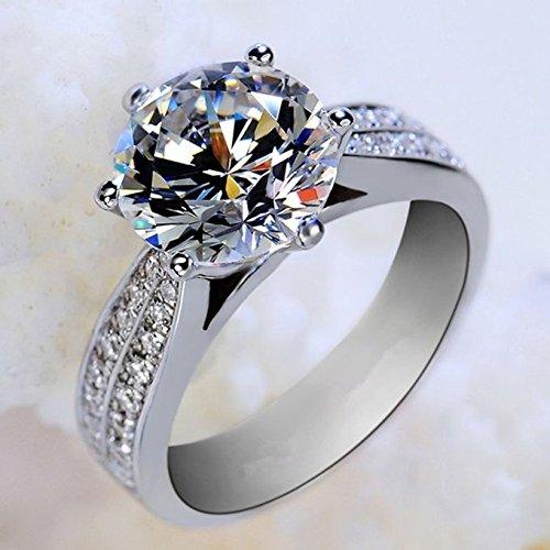 free shipping maket Fashion Ladies European Luxury Platinum Plated Diamond Ring S925 Silver Ring Silver