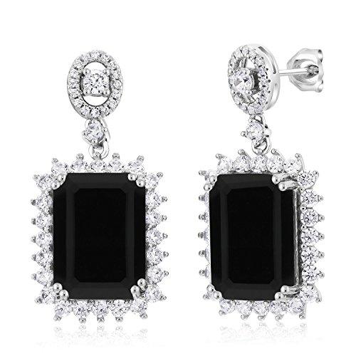 Black Onyx 925 Sterling Silver Earrings 10.60 Ct Gemstone Birthstone Emerald Cut 14X10MM