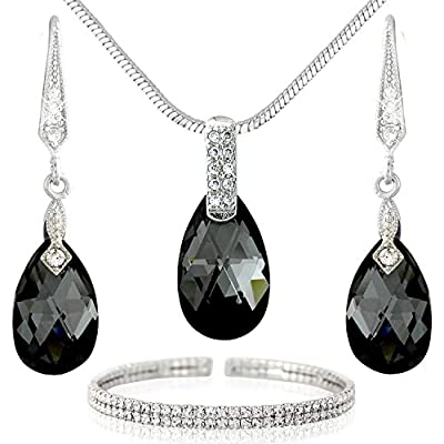new Black Crystal and Silver Tone Drops Jewelry Set - Necklace Bracelet and Earrings - Swarovski Elements Crystals get discount