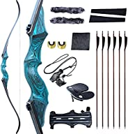 """Black Hunter Original Bow and Arrow for Adults Recurve Bows Archery Equipment 60"""" 20-60lbs Right Hand Woo"""