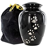 Always Faithful Small Black Pet Urns For Dogs Ashes And Cats Too - Find Peace And Comfort With This Quality Dog Or Cat Pet Urn - 4 Inches Tall Holds Remains Up To 17 Lbs - With Velvet Bag