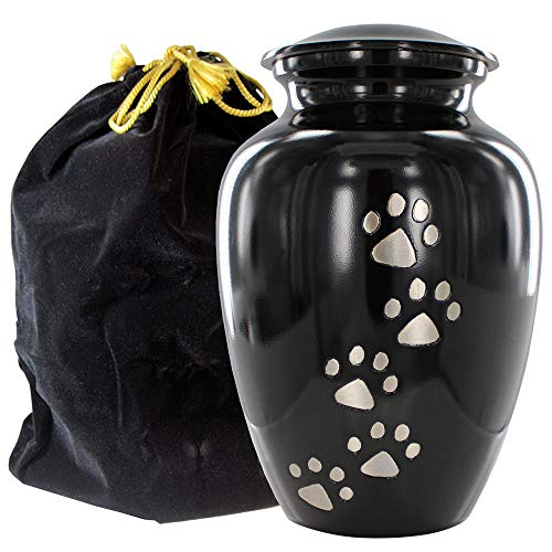 Always Faithful Small Black Pet Urns For Dogs Ashes And Cats Too - Find Peace And Comfort With This Quality Dog Or Cat Pet Urn - 4 Inches Tall Holds Remains Up To 17 Lbs - With Velvet Bag from Trupoint Memorials