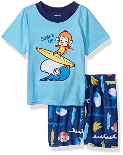 Peas & Carrots Boys' Toddler 2 Piece Jersey Pajama Short Set, Monkey, 2T -