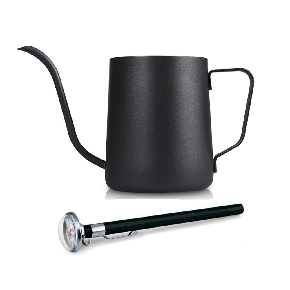 350ml / 12Oz Stainless Steel Pour Over Drip Kettle Long Narrow Spout Black Coffee Pot with a Thermometer by Dealhola   B01F6IKLHW