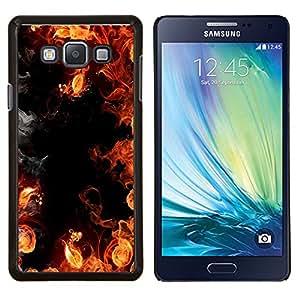 YiPhone /// Prima de resorte delgada de la cubierta del caso de Shell Armor - Llamas Negro Rojo Infierno amarillo Humo Fuego - Samsung Galaxy A7 A7000
