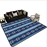 Indoor Floor mat,Traditional Scandinavian Needlework Inspired Pattern Jacquard Flakes Knitting Theme 6'x9',Can be Used for Floor Decoration