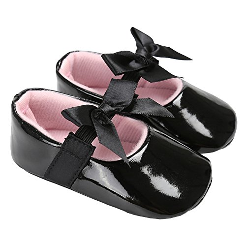 LINKEY Baby Girls Shiny Patent Leather Christening Baptism Mary Jane Princess Dress Flat Shoes with Bowknot Black Size S