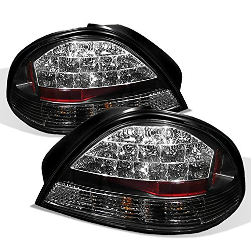 (For 99-05 Pontiac Grand AM Black Bezel Rear LED Tail Lights Brake Lamps Replacement Pair Left + Right)