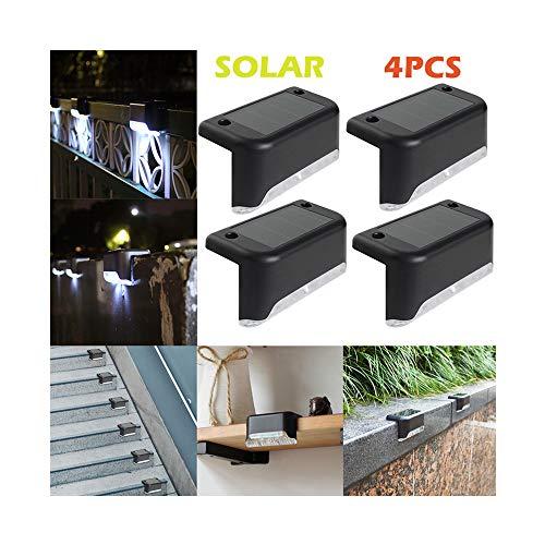 (4PCS Solar Deck Lights LED Solar Path Stair Outdoor Light Garden Yard Fence Wall Landscape Lamp (4 pack))