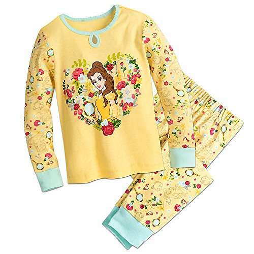 Disney Belle Floral PJ Pals Pajamas Size 5