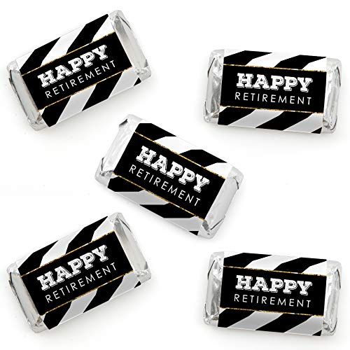 - Happy Retirement - Mini Candy Bar Wrapper Stickers - Retirement Party Small Favors - 40 Count