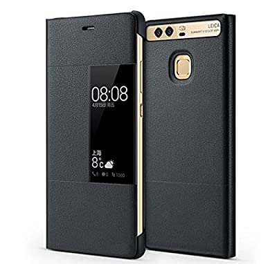 Huawei Ascend P9 Plus Case, Premium Leather Cover with View Window Protective Smartphone Flip Cover Folio Case (Ultra Thin Slim)(Perfect Fit) (P9 plus Gray)