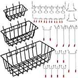 Pegboard Hook Assortment,Cheaboom Pegboard Hooks and Organizer Assortment - Peg Hook Organization with Basket