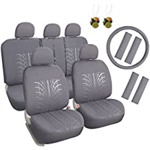 Leader Accessories 17pcs Auto Cloth Car Seat Covers Full Set Grey Universal for Truck SUV Airbag Compatible - FREE Steering Wheel Cover / Shoulder Pads
